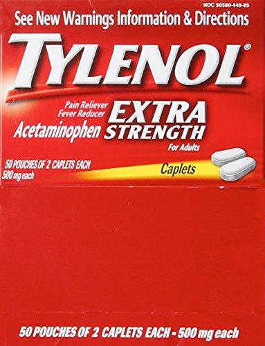 Tylenol(R) Extra-Strength, 2-Caplet Dosage, 100 caplets total,500mg each