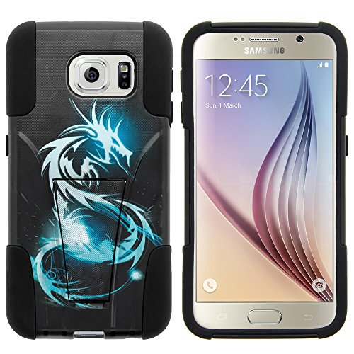 Galaxy S6 Case, Dual Layer Shell STRIKE Impact Kickstand Case with Unique Graphic Images for Samsung Galaxy S6 VI SM-G920 (T Mobile, Sprint, AT&T, US Cellular, Verizon) from MINITURTLE | Includes Clear Screen Protector and Stylus Pen - White Dragon