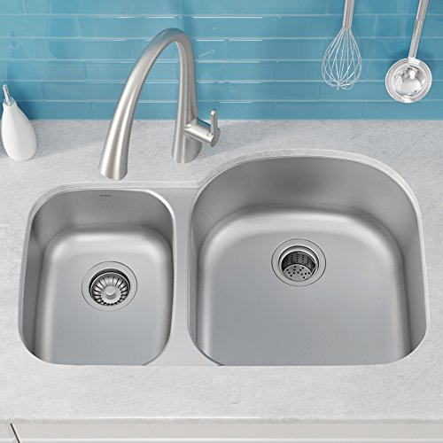 (Kraus KBU25 32 inch Undermount 40/60 Double Bowl 16 gauge Stainless Steel Kitchen Sink)