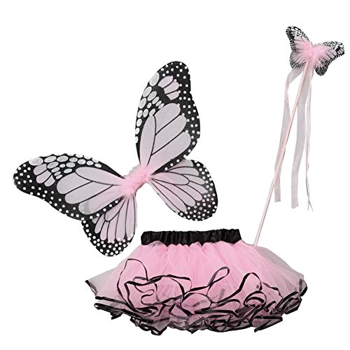 Little Girls Pink Butterfly Wings Wand Halloween Tutu 3 Pcs Set -