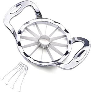 STOXTOVTO Apple Slicer Corer Upgraded Edition, 4-Inch 12-Blade Large Apple Cutter Divider, Food Grade 304 Stainless Steel Ultra-Sharp Apple Slicer thin Slices for Apple Onion Potato, Kitchen Tools