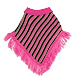 East Side Collection Acrylic Striped Preppy Dog Poncho, Medium, 16-Inch, Raspberry, My Pet Supplies