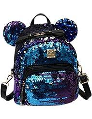 Women Girls Dazzling Sequins Backpack with Cute Ears Schoolbag Shoulder Bag Satchel