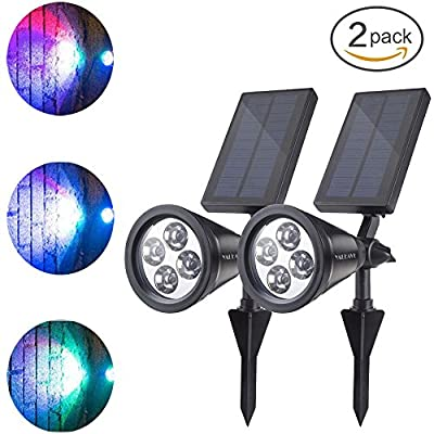 YALEAVE Solar outdoor multicolored spotlight Solar Powered LED light 2-in-1 Adjustable Outdoor Waterpoof Solar landscape light Wall light Use For Garden Patio Yard Driveway Pool(2 Pack)