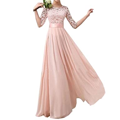 9808c6747980f Kalin L Women Crochet Half Sleeve Lace Top Chiffon Wedding Bridesmaid Gown  Prom Dress, Pink