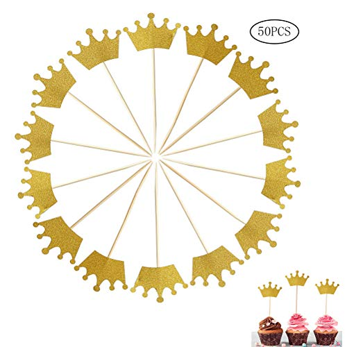 SUMAJU 50 Pack Crown Cupcake Toppers, Gold Glitter Royal Prince Cupcake Picks Topper for Wedding Birthday Party Baby Shower -