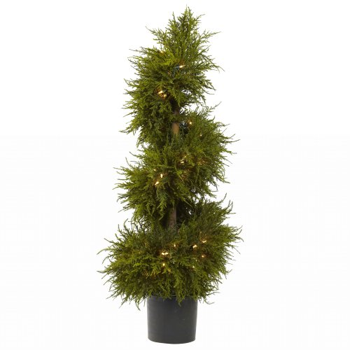Nearly Natural 5915 Cedar Spiral Topiary with Lights, 43-Inch, - Topiary Holiday
