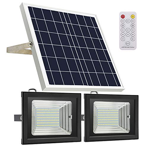 Solar Flood Light Remote Control,JPLSK IP65 Waterproof Dual 126 LED 18W Solar Panel Solar Powered Flood Lights Outdoor for Patio Backyard Garden Driveway - Panel Remote Solar