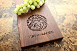 House Targaryen Personalized Walnut Cheese Board - Game of Thrones, Fire and Blood, Fire and Bacon, Gift For Him, Groomsmen Gift, Husband Gift, Boyfriend Gift. #937