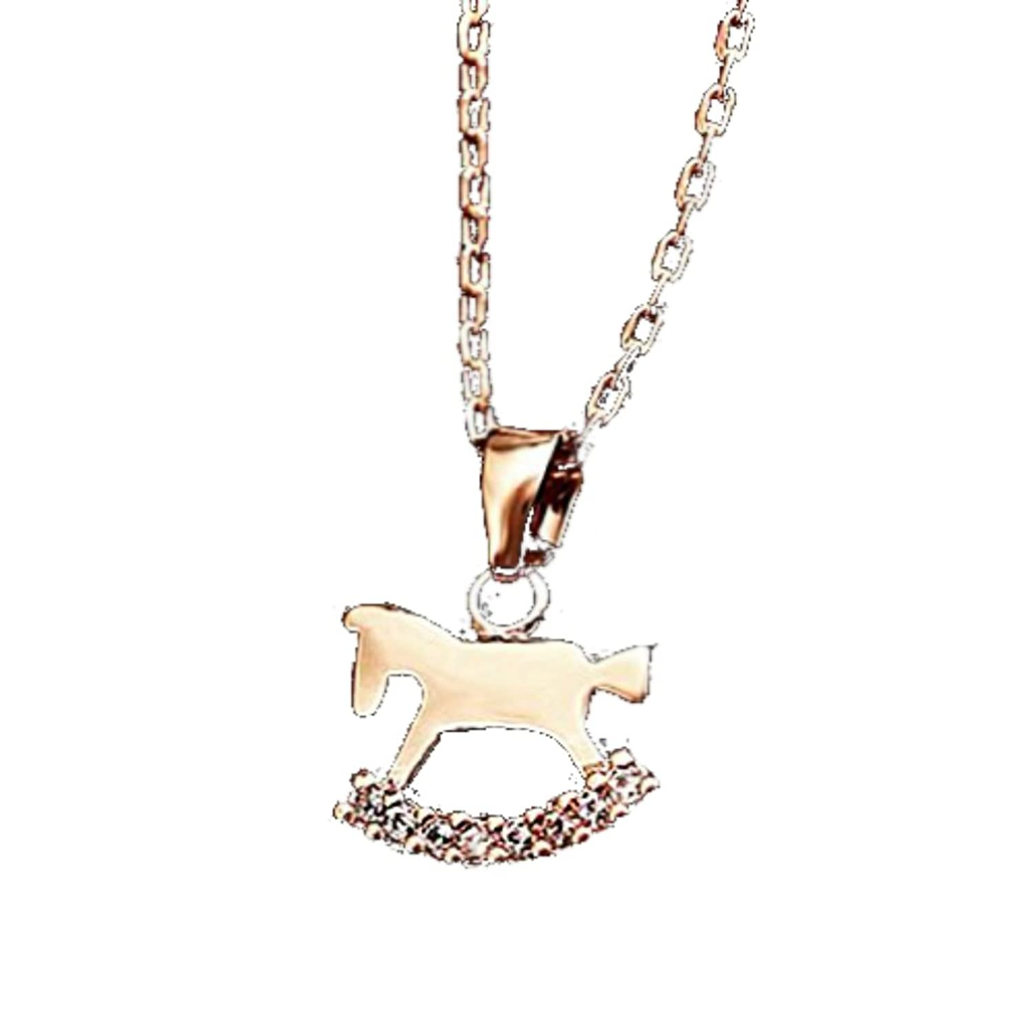 14K Rocking Horse with Crystal Pave Pendant Necklace - Rose Gold / White Gold Plated