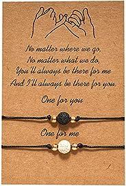 2pcs Promise Distance Infinity Friendship Bracelets Handmade Beads String Rope Bracelet for Women Girl Best Fr