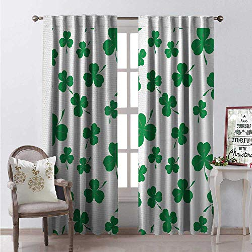 Hengshu Rock Window Curtain Drape St Patricks Day Pattern Lucky Irish Clover Traditional Holiday Design Customized Curtains W84 x L84 Fern Green and White