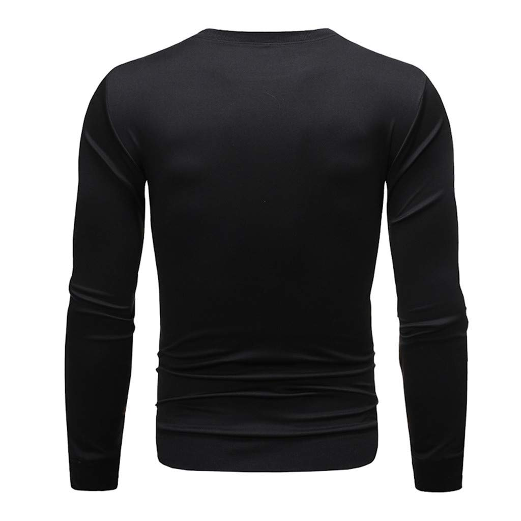 POQOQ Mens Long Sleeve Crewneck Soft and Cozy Print Sweatshirt Sweater Pullover