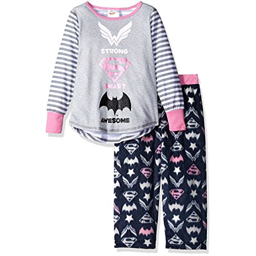 Superhero Dc Comics (DC Comics Super Hero Girls Mink Fleece Pants and Poly Top Pajamas, Grey, 7/8)