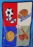 MiCasa Osaka Mink Plush Soft Baby Blanket Sports Football Soccer Baseball Basketball 40''x55''