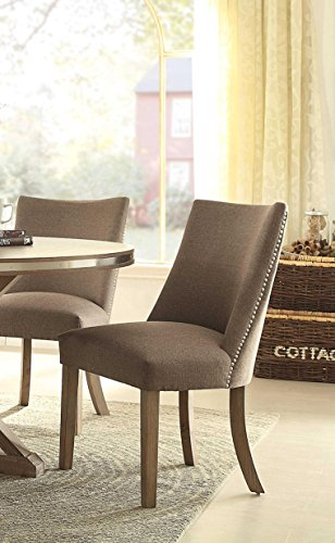 HOMELEGANCE Fabric Upholstered Side Chair with Nailheads, Brown, Set of 2