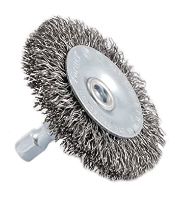 Forney 72727 Wire Wheel Brush, Coarse Crimped with 1/4-Inch Hex Shank, 2-Inch-by-.012-Inch