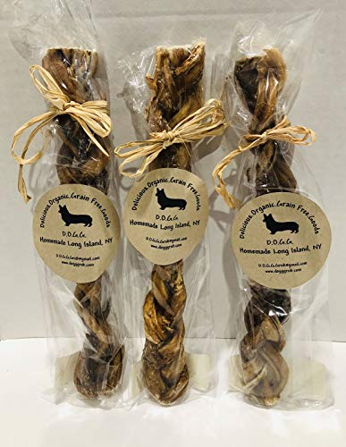"Homemade All Natural Buffalo Braided Bully Stick,9"" each, 1 Stick"