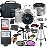Canon EOS M50 Mirrorless Digital Camera (White) with 15-45mm STM Lens + Deluxe Accessory Bundle Including Sandisk 32GB Card, Canon Case, Flash, Grip Multi Angle Tripod, 50″ Tripod, Filters and More. For Sale