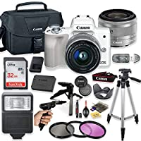 """Canon EOS M50 Mirrorless Digital Camera (White) with 15-45mm STM Lens + Deluxe Accessory Bundle Including Sandisk 32GB Card, Canon Case, Flash, Grip Multi Angle Tripod, 50"""" Tripod, Filters and More."""