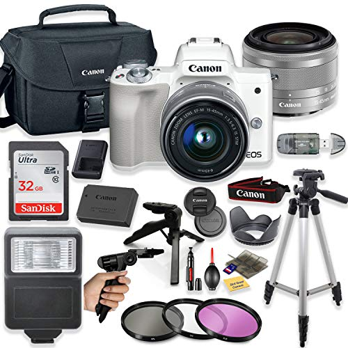 Canon EOS M50 Mirrorless Digital Camera (White) with 15-45mm STM Lens + Deluxe Accessory Bundle Including Sandisk 32GB Card, Canon Case, Flash, Grip Multi Angle Tripod, 50