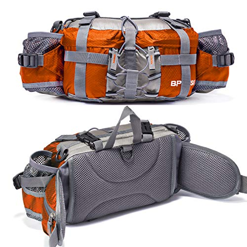 Hiking Belt - Bp Vision Outdoor Fanny Pack Hiking Camping Biking Waterproof Waist Pack 2 Water Bottle Holder Sports Bag for Women and Men Orange