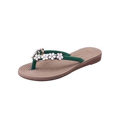 29dde82379d3 Women Fashion Solid Color Flower Flip Flops Sandals Slipper Beach Shoes  Green