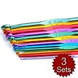 Aspire Crochet Kit, Crochet Hooks 12 Sizes, 3 Sets Packed Wholesale