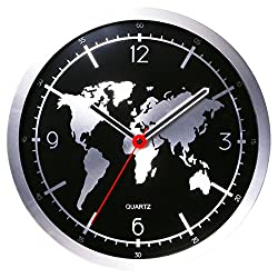 HMANE Hanging Clock, World Map Pattern Round Non-Ticking Slient Decor Wall Clock - Silver + Black
