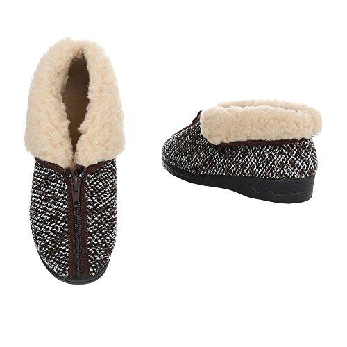 Gefütterte Design Ital Pantoffeln Reißverschluss Braun Freizeitschuhe Damenschuhe Warm Hausschuhe 7HnRxHXP