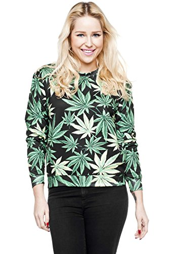 Black de marijuana Weed Sweater fullprint Pull Sweat Pull Hipster
