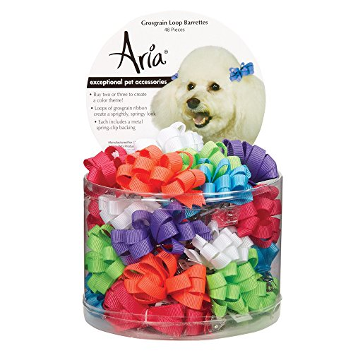 Aria Grosgrain Ribbon Loops Barrettes for Dogs, 48-Piece -
