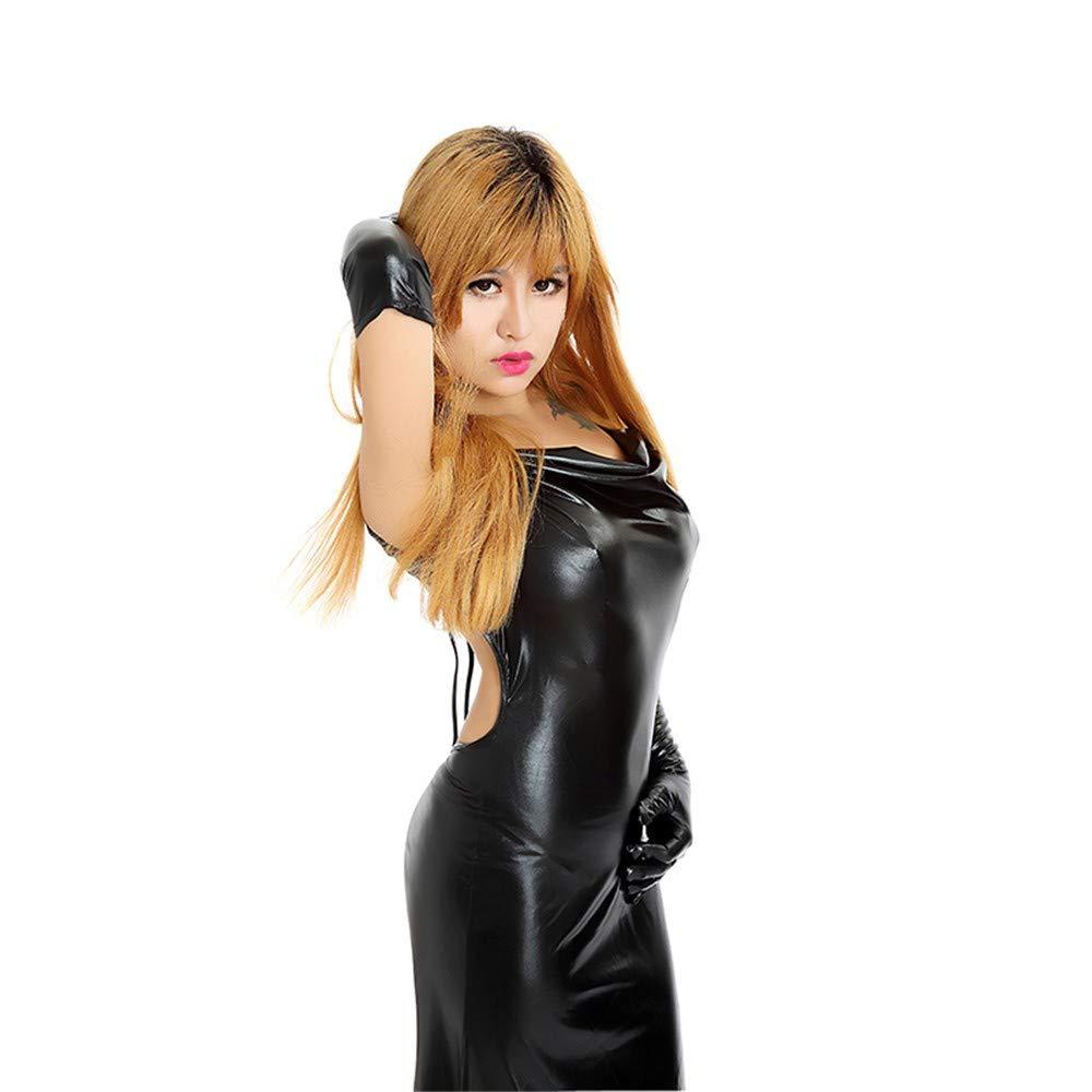 Top ShishangVestido de cuero de la ropa interior de la la de lencería erótica medias de cuero de patente cosplay equipo de discoteca falda larga, negro a75e17