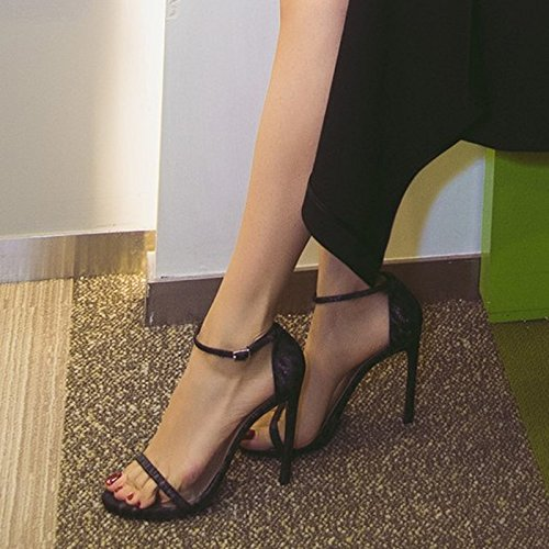 VIVIOO Zapatos de tacón alto Sandalias de tacón alto Sandalias Mujer Verano con hebilla de verano Tacones altos Finas con salvaje Black 10cm