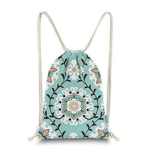 Cheap Miomao Drawstring Backpack Gym Sack Pack Dahlia Style Floral Sinch Sack Canvas String Bag Beach Cinch Pack For Men & Women 13 X 18 Inches Fair Aqua