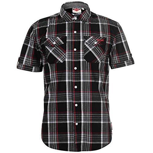 Lee Cooper Camisa de cuadros para hombre S/S – Negro/Blanco/Rojo