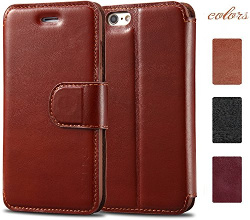Acluxs Handmade Wearable Snugly Slim Cow Leather Wallet Case with Folio Stand and Card Slots for iPhone 6 (Leather Stand Wallet)