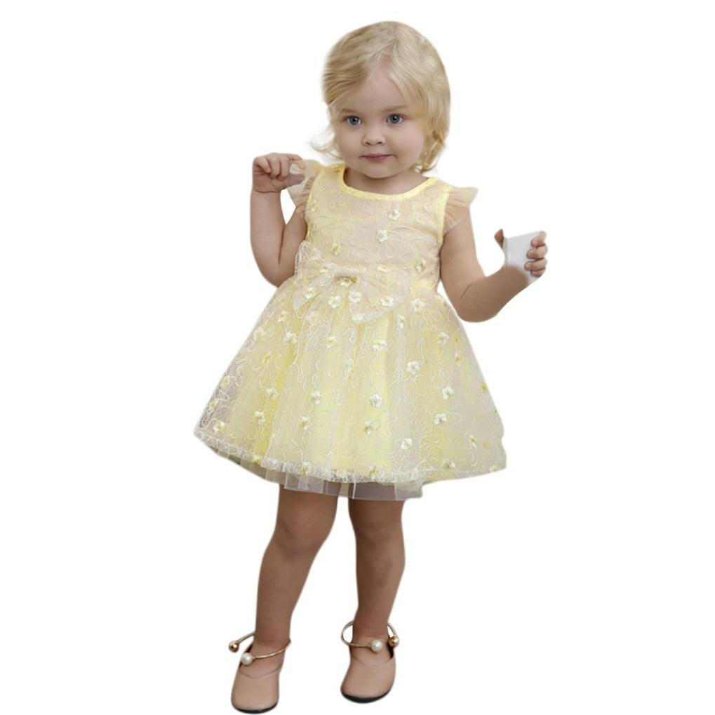 Yuxing Kids Girls Cute Wedding Princess Pageant Birthday Party Dress (Yellow, 4T)