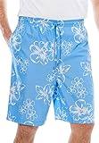 KingSize Men's Big & Tall Hibiscus Print Trunks, Ocean Blue Big-6Xl