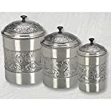 Pewter-plated 3-piece Embossed Canister Set made in Metal, Stainless Steel