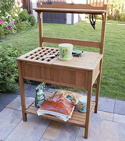 Astonishing Amazon Com Potting Table Potting Benches For Outside Brown Download Free Architecture Designs Aeocymadebymaigaardcom