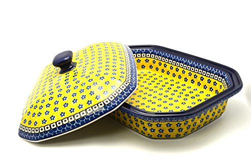 Polish Pottery Baker - Rectangular Covered - Large - Sunburst (Pottery Casserole)