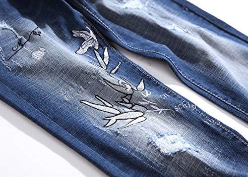 Ricamo Lampo Quattro Elasticizzati Gatto giovani Denim Stagioni Media Di Sfsf Chiusura 32 Dritto Altezza Jeans Apertura Uomo Pantaloni Della Men Da In Baffo JlKcT3F1