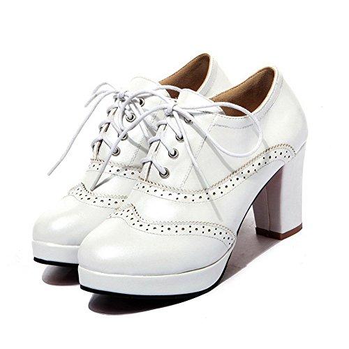 PU Blanc Rond Cuir Lacet Couleur Légeres Haut Chaussures Unie Femme Talon à AllhqFashion nBRFXqw