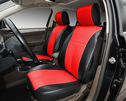 Leather Seat Black Like - 180208S Black/red-2 Front Car Seat Cover Cushions Leather Like Vinyl, Compatible to Nissan Altima 370Z Armada Frontier Juke Leaf March Maxima Pathfinder Rogue Quest Sentra Tiida Versa X-Trail