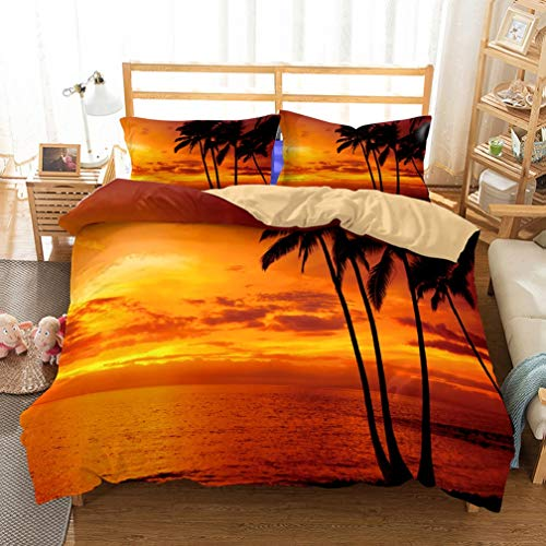 MouMouHome 3D Tropical Island Palm Tree Black Shadow Print Ocean by Gold Glow of Sunset Duvet Cover Bedding Set 3 Pieces(1 Duvet Cover 2 Pillowcase) for Adults,Boys and Girls,Full/Queen