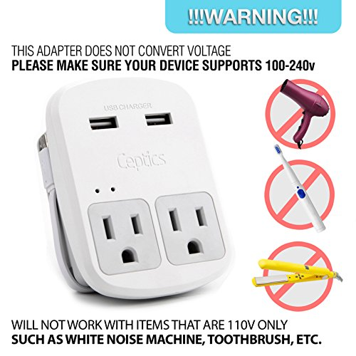 Ceptics World Travel Adapter Kit - 2 USB + 2 US Outlets, Surge Protection, Plug for Europe, UK, China, Australia, Japan - Perfect for Laptop, Cell Phones (Does Not Convert Voltage) (WPS-2B+) by Ceptics (Image #2)