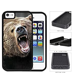 Angry Grizzly Bear Close-up Portrait 2-Piece Dual Layer High Impact Rubber Silicone Cell Phone Case Apple iPhone 5 5s