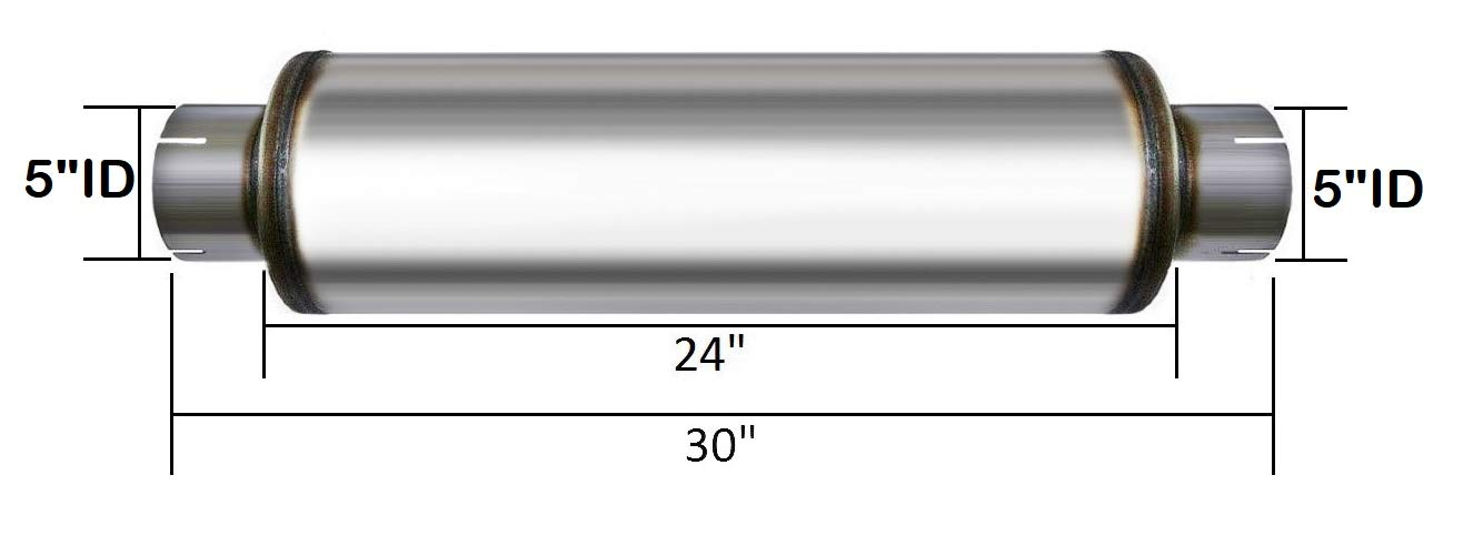 409 Stainless Steel Performance Diesel Muffler 5 inlet outlet 30 Long
