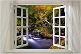 Window onto FOREST CREEK in autumn scenic poster LEAVES WATER 24X36 new